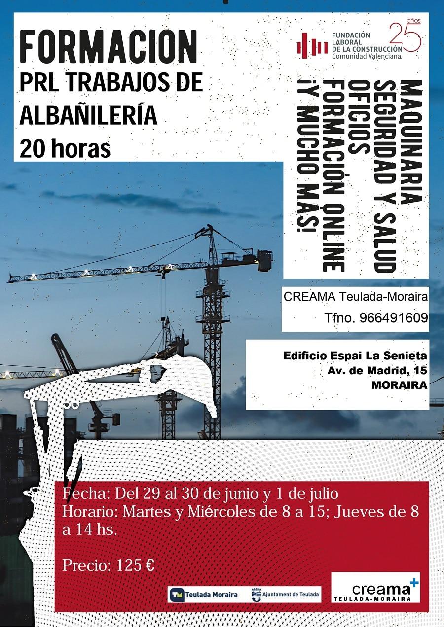 Formación PRL trabajos de albañilería (20 horas).