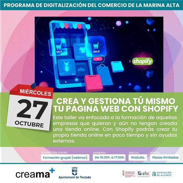"""""""Crea y gestiona tú mismo tu página web con Shopify""""."""