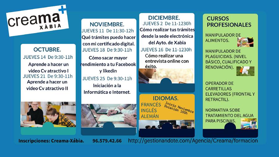 Creama Xàbia programa nuevos cursos para mejorar la calificación profesional de la ciudadanía de Xàbia