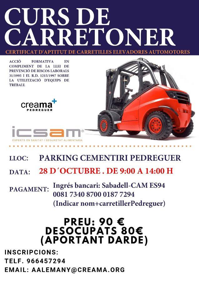 Curso para la obtención del Carnet de Carretillero en Pedreguer.
